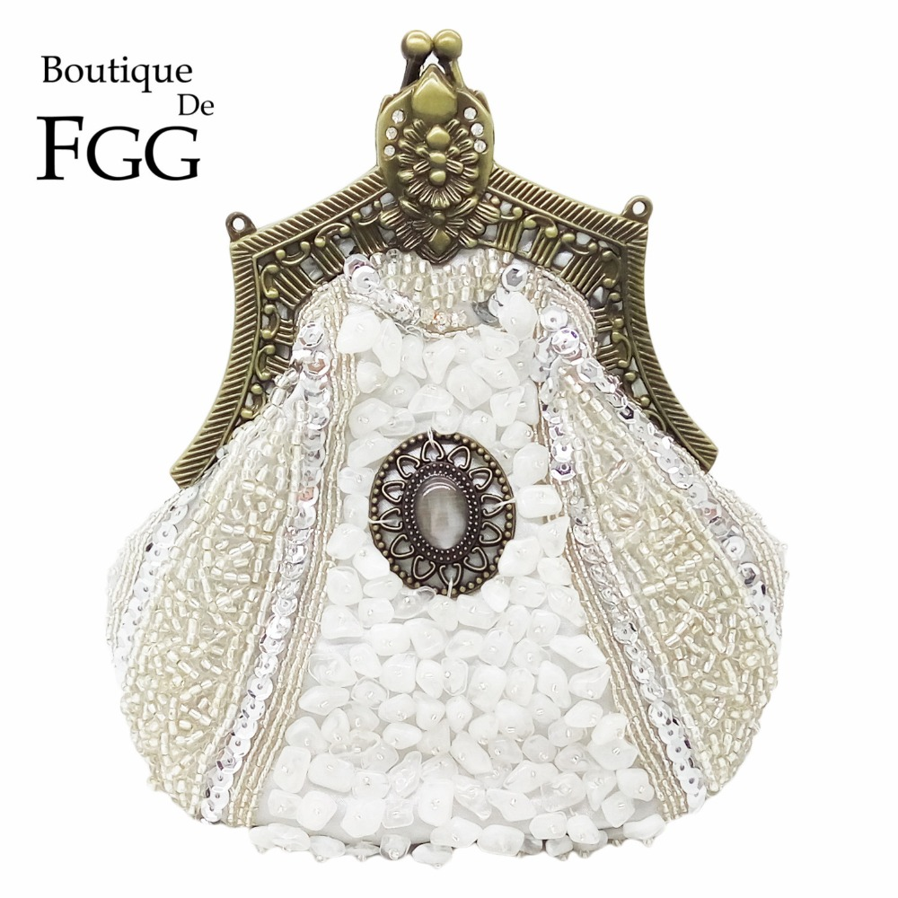 Boutique De FGG Vintage Bronze Plated Women Silver Beaded Clutch Purse Evening Metal Clutches Bag Wedding Bridal Beading Handbag silver metal lady fashion evening bag silver stylish day clutches prom ladies handbag yls g74