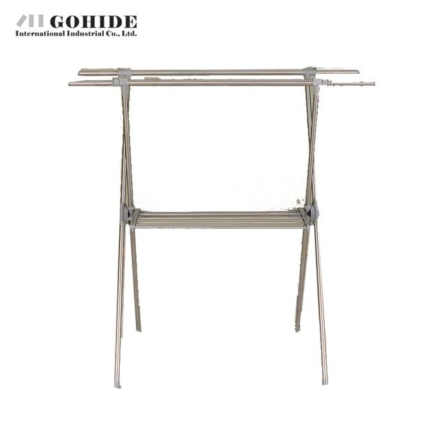 Gohide Home Furniture Stainless Steel Floor Double-Pole X Racks Balcony Retractable Folding Coatless Hangers Coat Racks