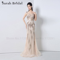 2015 Hot Nude Tulle Mermaid Evening Dresses Sheer Neck Flashy Beading Party Gowns With Crystal Vestidos