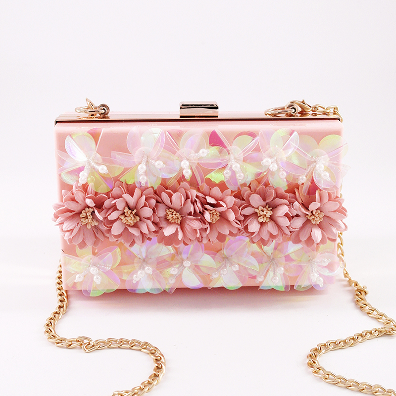 1c6c2f0922 2017 Fashion evening bag pink Handmade flower Clutch Bag Acrylic luxury  handbag banquet party purse women s chain Shoulder bag