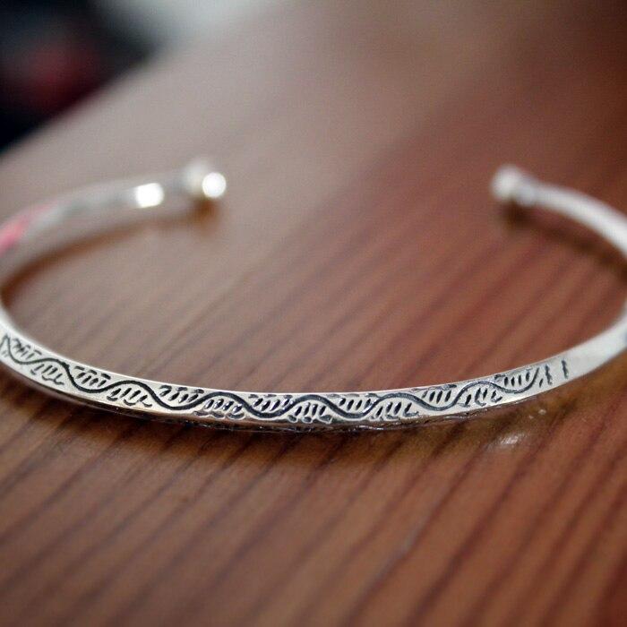 Silver hot national LAOYINJIANG trend bracelet vintage triangle pure silver bracelet opening bracelet female leaf opening bracelet