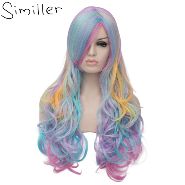 Similler Long Curly Inclined Bang Cosplay Synthetic Wig Multi Color