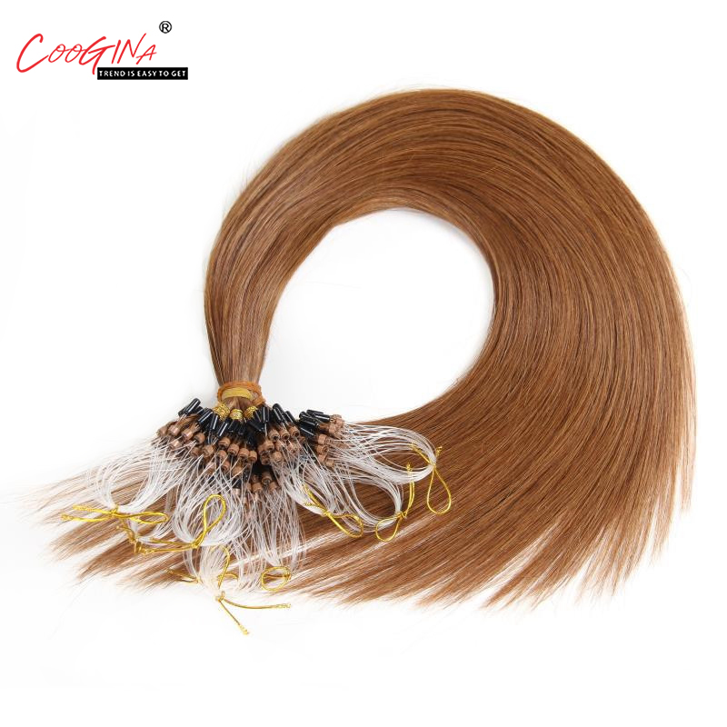 Coogina Women Micro Loop Ring Hair Extension Remy Micro Bead Hair Extensions 1g/strand Micro Link Human Hair Salon Free Shipping