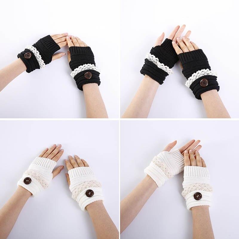 1 Pair Women Lady Girl Mittens Gloves Fingerless Short Knitting Fashion For Winter -MX8