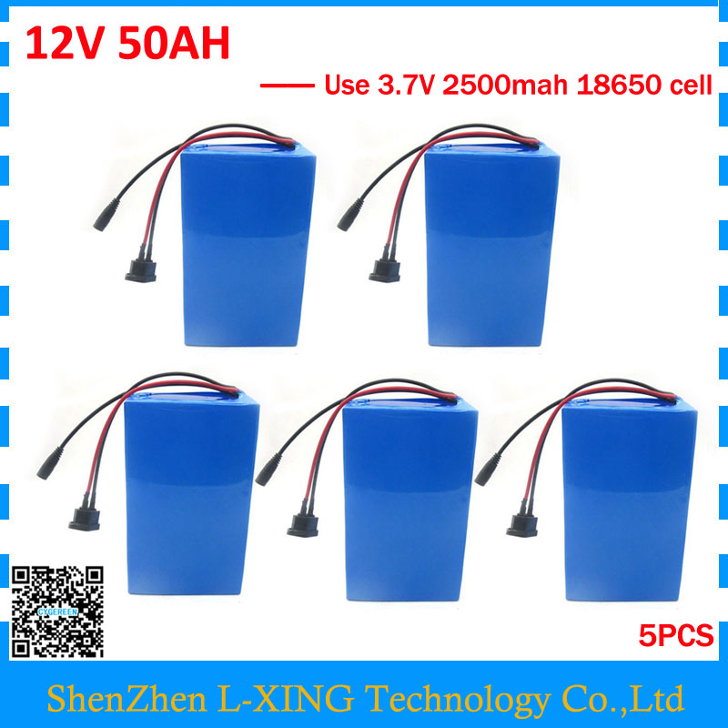 Wholesale 5pcs/lot 12V 50AH battery 12 V 50AH 50000MAH Lithium ion battery for 12V 3S Battery 5A charger EU US no tax 30a 3s polymer lithium battery cell charger protection board pcb 18650 li ion lithium battery charging module 12 8 16v