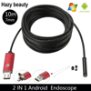 10M Borescope USB Camera Endoscope 7mm 2 In 1 OTG Micro USB Endoscopic Inspection Camera With
