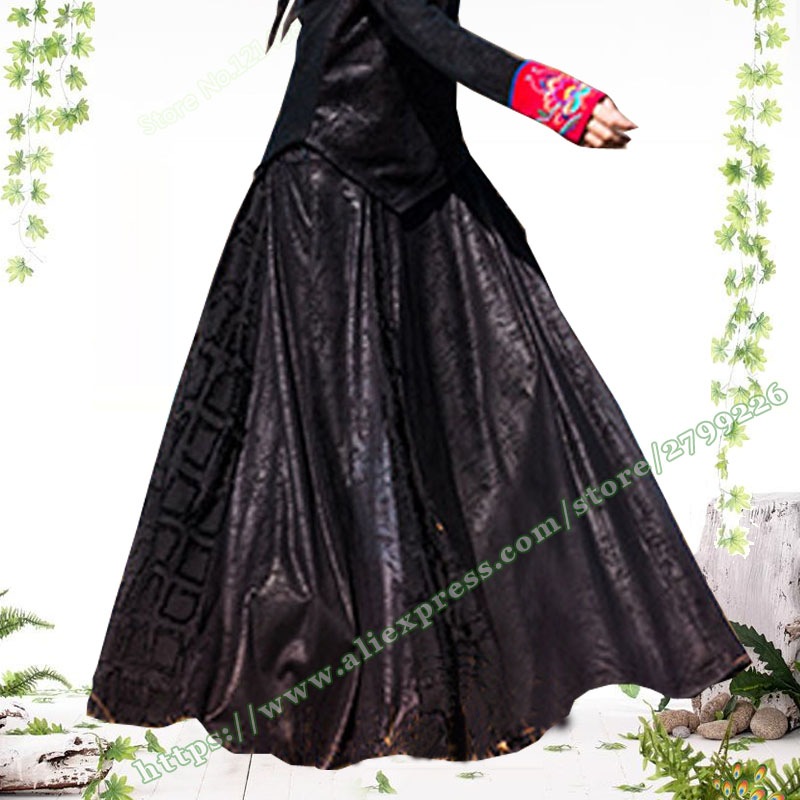 2018 Autumn And Winter Leather Stitching Plaid Black Pleated Female Long Skirt Designs / Holiday Grid Maxi Skirts Womens