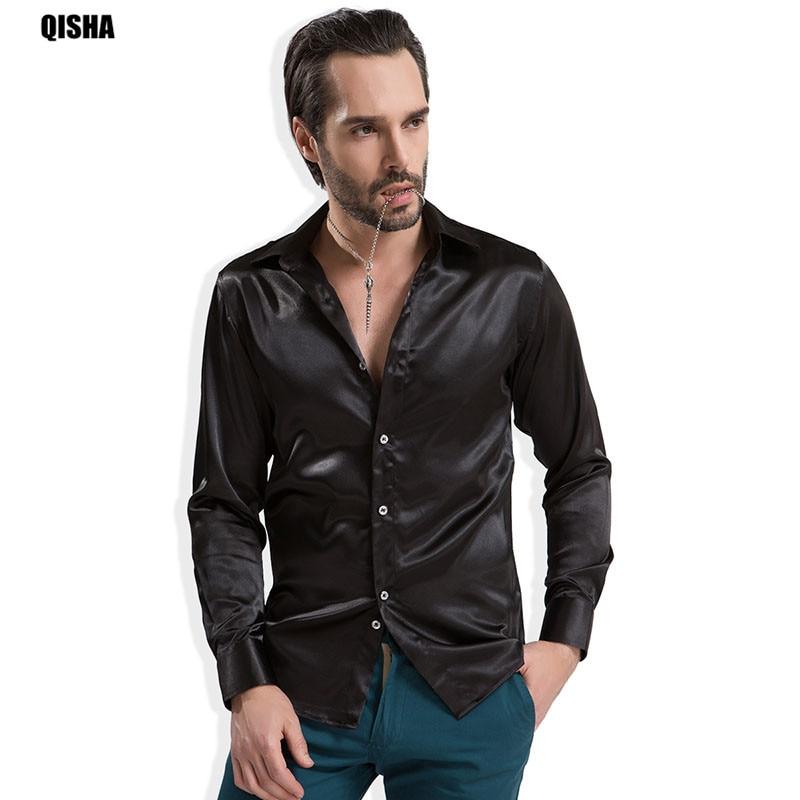 Qisha 2017 نعمة فاخرة رجل طويل الأكمام الحرير مثل القمصان الذكور لامعة حريري الحرير عارضة اللباس قميص أداء زي 13xx