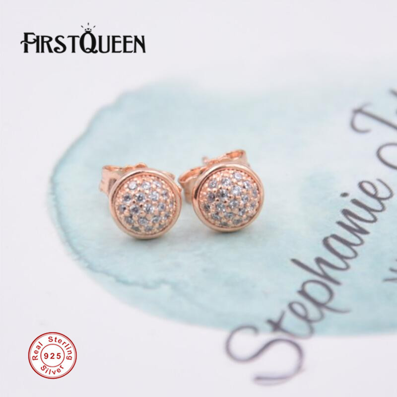 FirstQueen Rose Gold Droplet Earring With Diamond Earring Brinco Feminino 2017 Christmas Gift Fine Jewelry
