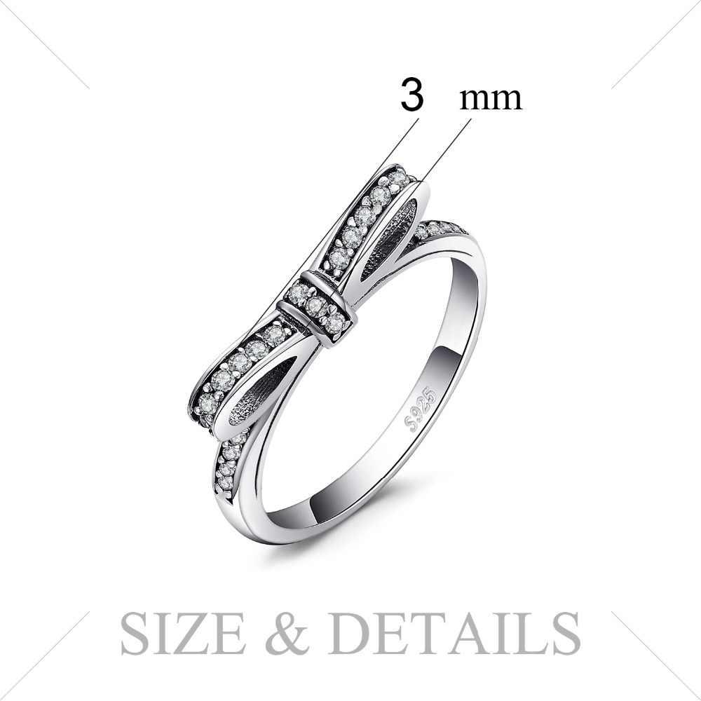 JewelryPalace Ikatan Simpul Cubic Zirconia 925 Sterling Cincin Perak untuk Wanita Stackable Cincin Perak 925 Perhiasan Fine Jewelry