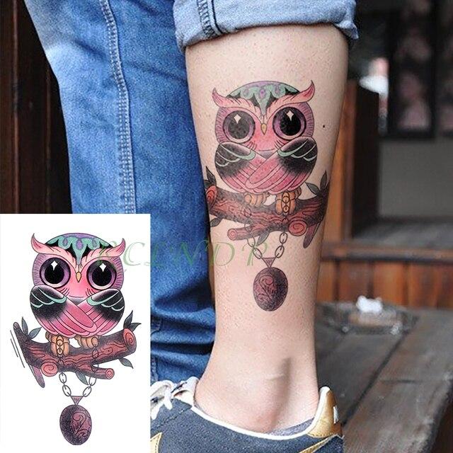 Tatuaje Temporal Impermeable Pegatina Lindo Búho Animal Falso Tatto