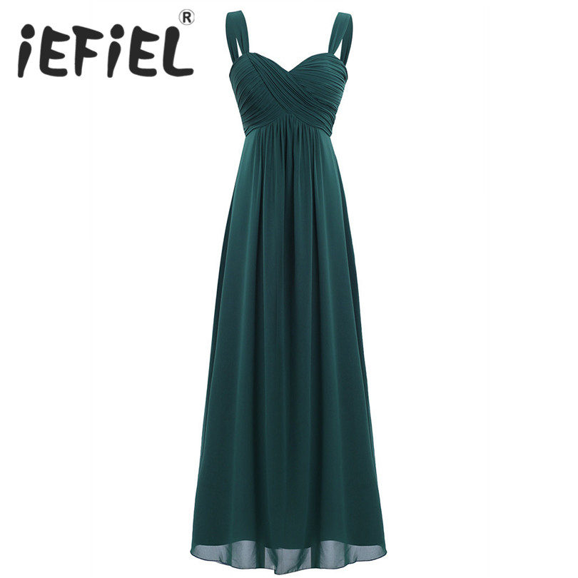 iEFiEL 2018 Fashion Women Maxi Ankle-Length Dresses Ladies Chiffon Pleated Long Summer Tulle Dress Party Bridesmaids Clothes