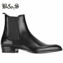 Black& Street Men black cow leather New Wedge Chelsea Boots 3cm Heel Comfortable pointed toe handmade dress shoes