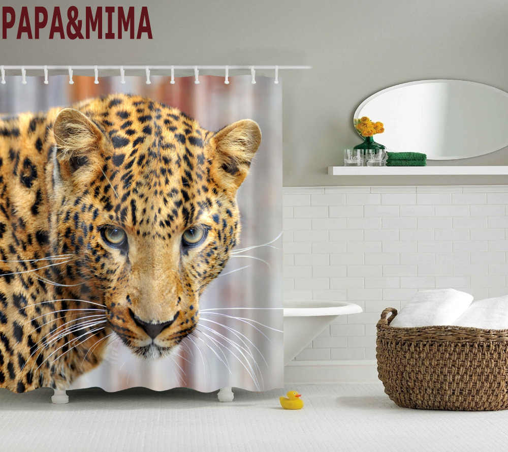 Papa&Mima Wild Leopard Animals Waterproof Shower Curtains Polyester Bathroom Curtains With Hooks 150x180/180x180cm Decorative
