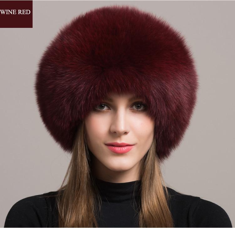 Winter Sexy Vintage Fashion Casual Nieuwe Vrouwen Vrouw Echte Natuurlijke Vos Hoed Warmer YH55 - 4