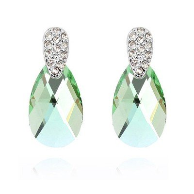 Women S White Gold Color Made With Swarovski Elements Olive Green Water Drop Crystal Stud Earrings For