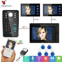 Yobang Security 7inch Monitor Video Record Wifi IP Video Intercom Doorbell APP/Password/Remotes/RFID Unlock Door Phone Door Bell
