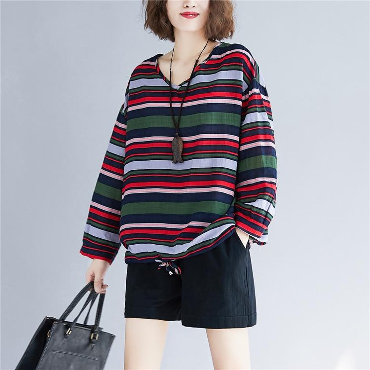 Doornot Oversized Striped Woman Tops & Tees V neck Long sleeve Ladies Tshirts Fashion Loose Drawstring Linen Women T-shirt 21