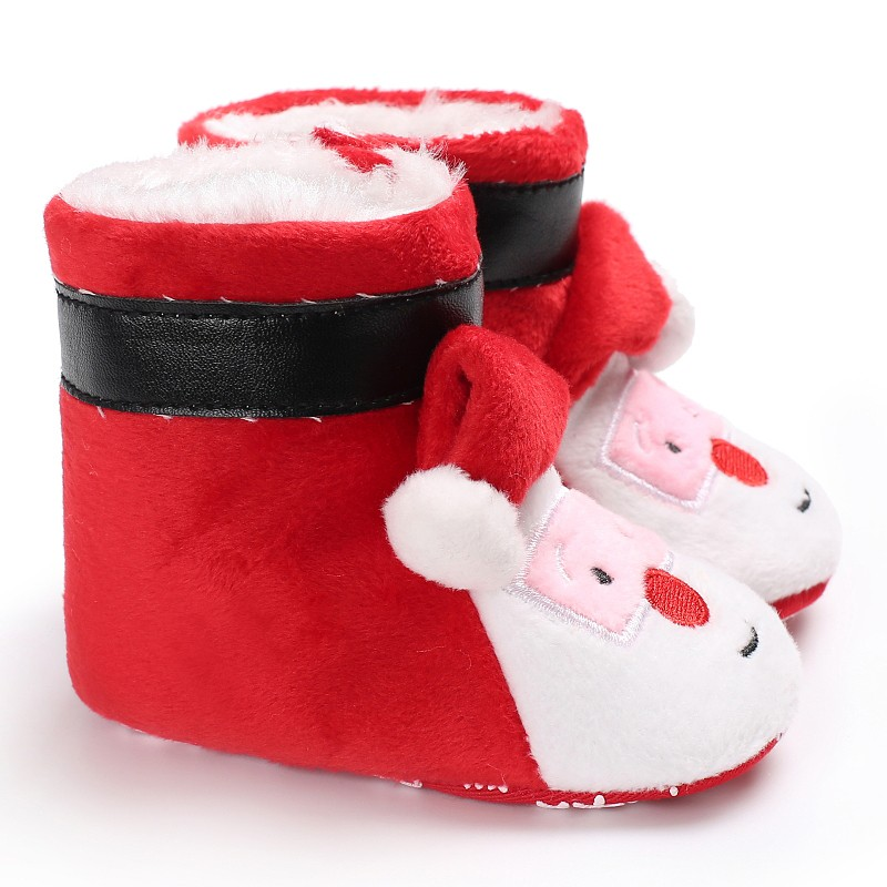 Baby Boots Cartoon Santa Claus Shoes First Walkers Winter Super Warm Snowfield Booty