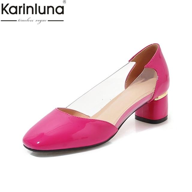 0a8d4d1b9d6d KarinLuna Chunky Heels Plus Size 43 Mature Classics women s Pumps Elegant  Office Lady Fashion 2019 Brand New Ins women s Shoes
