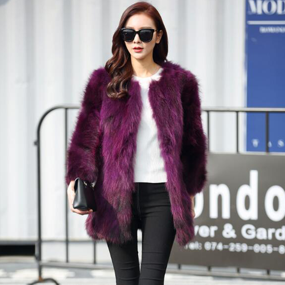 Trend Fashion Customize Plus Size Factory Direct Real Raccoon Fur Coat Vintage Ladies Natural Fur Overcoat Free Shipping Wsr344