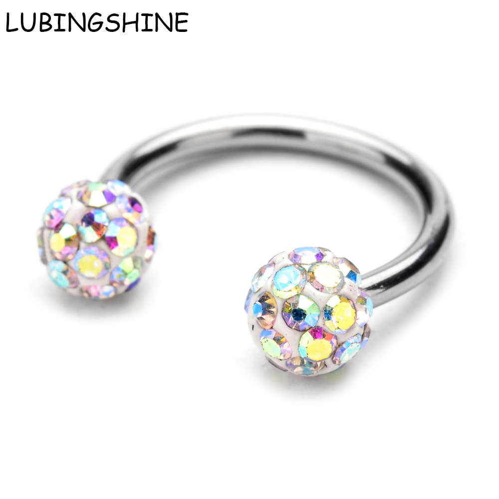 LUBINGSHINE Surgical Stainless Steel Nose Rings Double Crystal Ball Circular Barbell Piercing Lip Rings Horseshoe CBR Ring