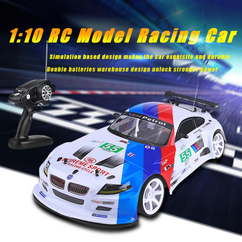 1:10 RC Car Remote Control Racing Car Model High Speed With LED Light Double Battery 1:10 Model Vehicle Toys For Kids Boy Gifts
