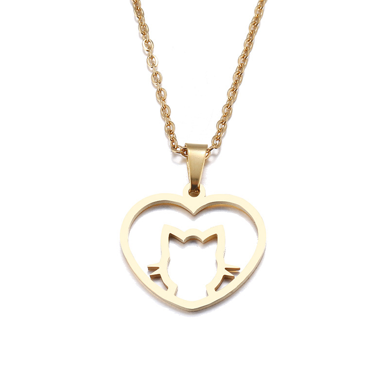 Hibobi Stainless Steel Necklace Women Jewelry Heart Cat Trendy Necklaces Pendants Chain Donot Fade Valentine`s Day Gift (4)
