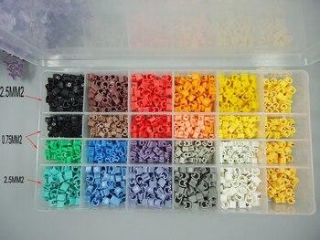 2400 Uds 0.75mm2 0.5mm2 marcador de cable de EC-0 0-9 diferentes números mezclado colorido Cable marcador manguitos de cable de corte total