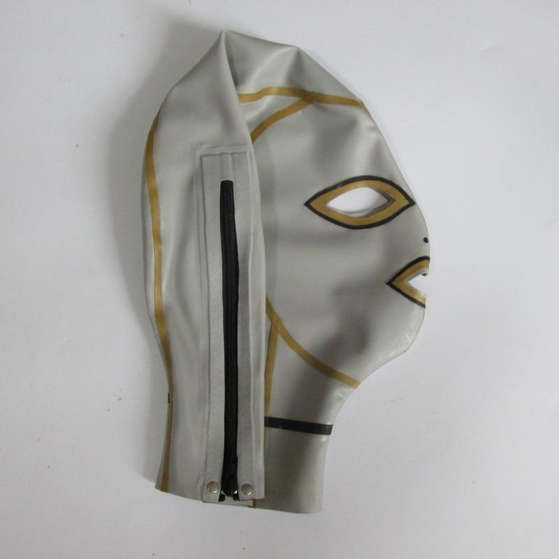 0.4mm latekshõbedane unisexi seksikas tihe mask lateksist - Kostüümid - Foto 4