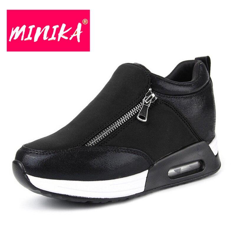 MINIKA Winter Flat Shoes Women Fashion Patchwork Comfortable Women Casual Shoes New Design Platform Women Zipper Shoes minika soft