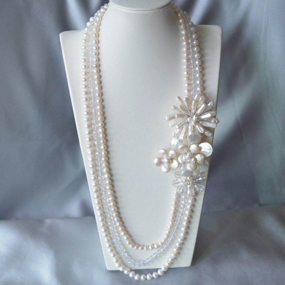 Mode femmes chaîne bijoux blanc pièce perle Nearround eau douce fleur déclaration collier vente chaude