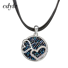 Cdyle Crystals From Swarovski Necklaces Women Pendants Heart Shaped Cubic Austrian Rhinestone Paved Geometric Vintage Fashion(China)