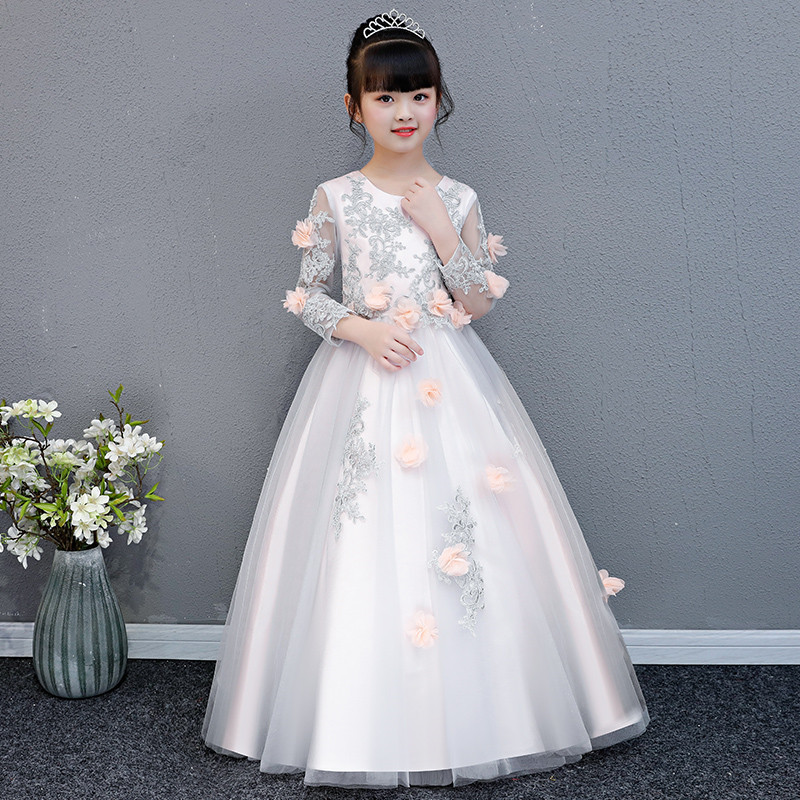 Korean Sweet Children Girls Appliques Flowers Birthday Wedding Party Long Mesh Dress Baby Kids Evening Party Pageant Lace Dress 2018 new korean sweet autumn summer children baby birthday wedding party prom dress kids girls pink color flowers pageant dress