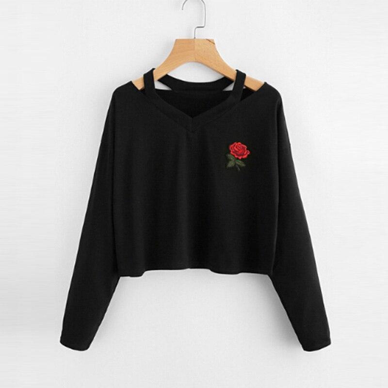 9b758fa594992 Black White Cold Shoulder Crop Top Hoodies Women s Floral Printed Long  Sleeve Casual Pullovers Sweatshirt 2017 Autumn Top