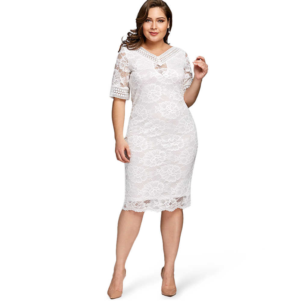 2709caac624 ... Gamiss Plus Size V Neck Half Sleeve Lace Dress Bodycon 2018 Women  Fashion Sexy Office Club ...