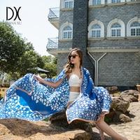 DANAXU 100 Silk Long Scarf Women Large Size Lady Shawls 2017 New Design Silk Sandbeach