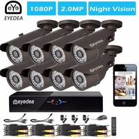 Mother S Day Eyedea 8 CH Standalone Remote View HDMI DVR 1080P 2 0MP Black Outdoor