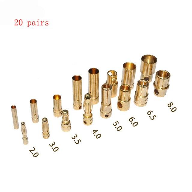 20 par/lote/2,0/3,5/4,0/5,0/5,5/6,0mm conector Banana de alta calidad oro -piezas de repuesto para Motor de Avión RC ESC