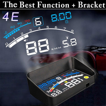 4E 5.5″ Head Up Display HUD OBD II EOBD Windshield Projector Self-adaptive Car Fuel Parameter Display Speeding Warning + Bracket
