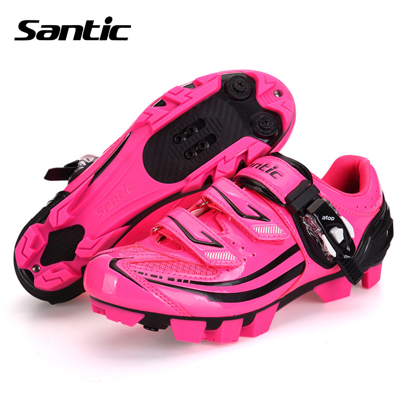 Santic Professional MTB Cycling Shoes Women Self-locking Mountain Bike Shoes Sneakers Sapatilha Ciclismo MTB Bicycle Shoes boodun breathable men s cycling shoes road mountain bike shoes racing self locking cycling sneakers sapatilha ciclismo mtb shoes