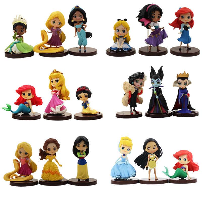 3 sztuk/zestaw Qposket księżniczka Ariel syrenka Belle roszpunka Mulan Snoe śnieżka kopciuszek figurka zabawka pcv modelu lalki