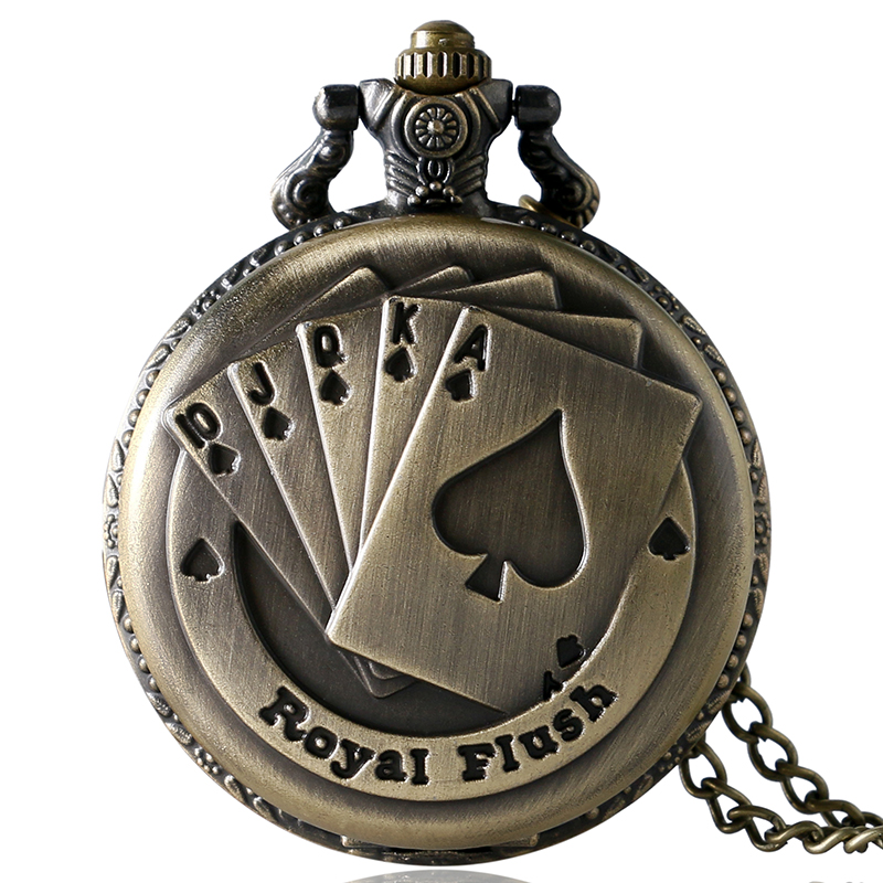 Antique Bronze Vintage Gambling Royal Flush Poker Cards Lucky Quartz Pocket Watch Necklace Pendant Chain Gift Reloj De Bolsillo