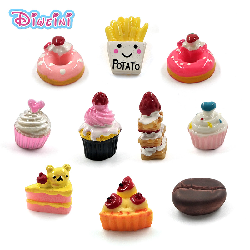 5pcs Simulation Snack Dessert Cake Food Miniature Figurine Pretend Play Kitchen Toy Doll House DIY Accessories Gift Baby Gift