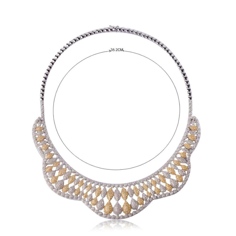 Роскошный свадебный комплекты украшений для женщин Свадебные три цвета циркония Стразы колье серьги кольцо браслет набор Aretes