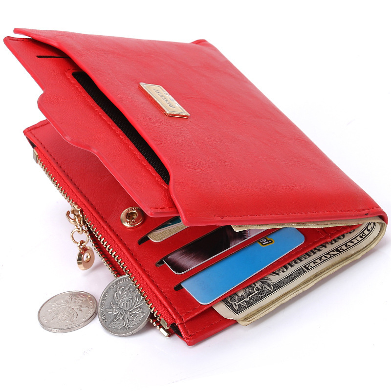 Woman New Hot Sale Red Bifold Lady Wallet Casual Fashion Design Urban OL Purse Short ID Photo Credit Multi Card Pocket Coin Case title=