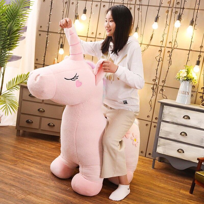 90/130cm Jumbo rose blanc licorne Peluche jouet géant licorne Peluche Animal cheval Unicornio Peluche poupée cadeau enfants Photo accessoires - 6