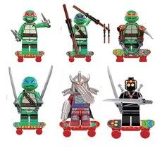 New 6 Pcs Set TMNT Teenage Mutant Ninja Turtles Action Mini Figures Building Block Toy Assemble Kids Gift Compatible With Lego