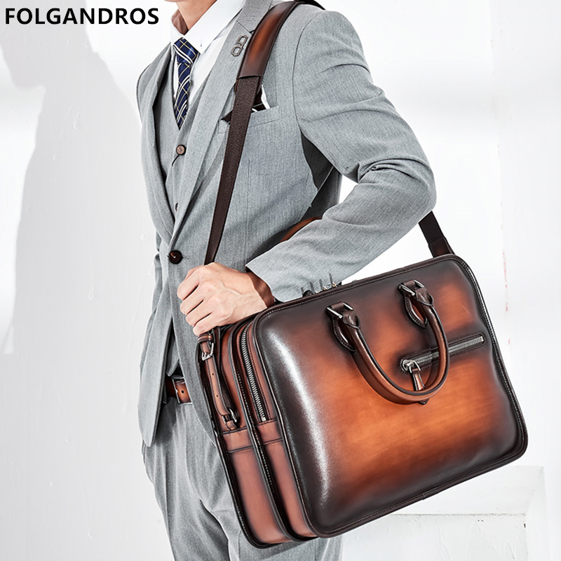 2019 Italy Genuine Leather Briefcases For Men Handmade 15 Inch Laptop Case Office Work Business Double Zipper Open Shoulder Bag