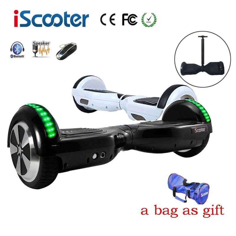 IScooter hoverboard BT Électrique Planche À Roulettes volant Smart 2 roues auto Équilibre Debout scooter hover bord un sac comme cadeau